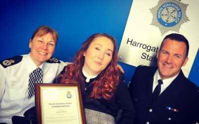 Receiving a Chief Commissioners Commendation from North Yorkshire Police